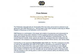 FIA reconfirming OMP Racing as Official Supplier