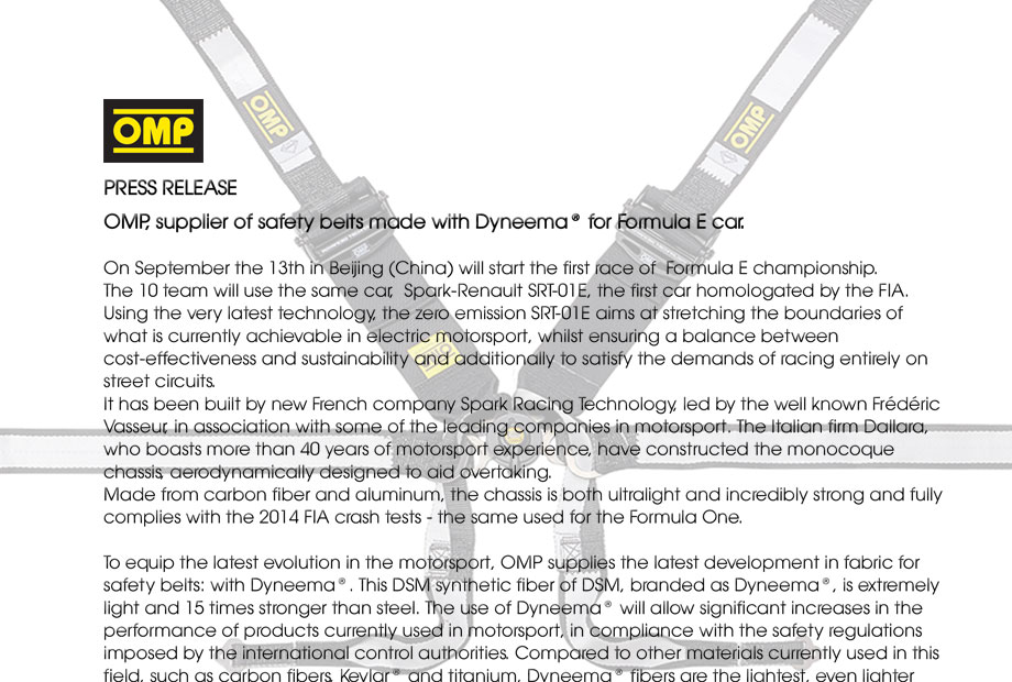 OMP, supplier of safety belts made with Dyneema® for Formula E car.
